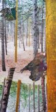 'Bast' 2013 - tape, draad en verfresten op collage, 26 x 13 cm