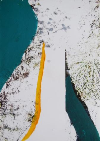 'Een brug te ver' 2013 - acryl op foto, 12 x 9 cm