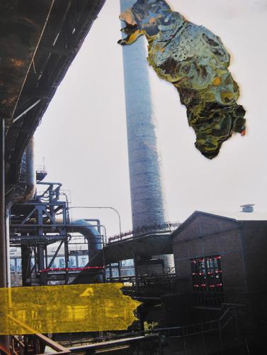 'Ruhrgebied 2' 2012 - tape, draad en verfresten op print