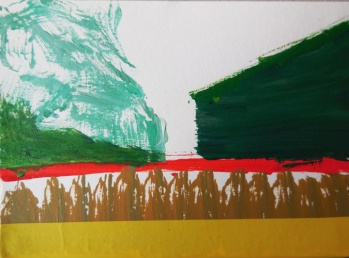 'Uitheems' 2013 - acryl op papier, 9 x 12 cm