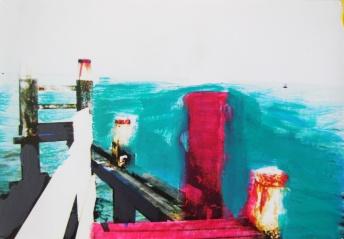 'Vaarwater' 2013 - acryl op foto, 9 x 12 cm